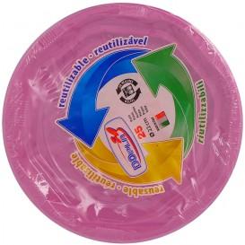 Plato Redondo Octogonal Plastico PS Rosa Ø220 mm (25 Uds)