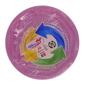 Plato Redondo Octogonal Plastico PS Rosa Ø220 mm (275 Uds)