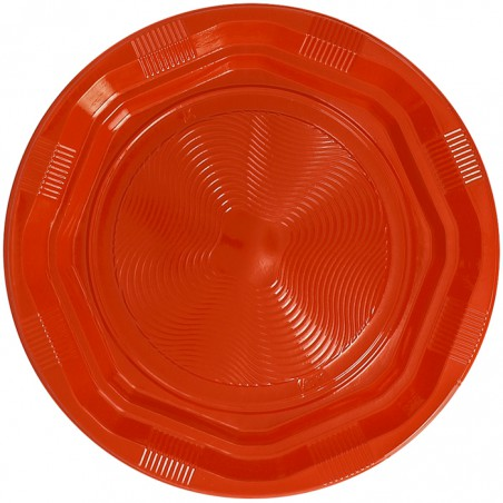 Plato Hondo Reutilizable Económico PS Naranja Ø22cm (250 Uds)