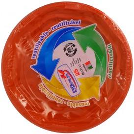 Plato Hondo Redondo Octogonal Plastico PS Naranja Ø220 mm (25 Uds)