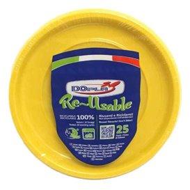 Plato Hondo Redondo Octogonal Plastico PS Amarillo Ø220 mm (25 Uds)