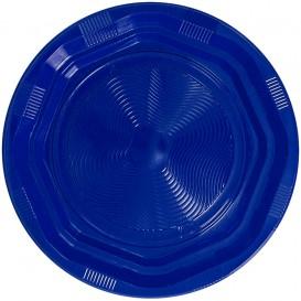 Plato Hondo Redondo Octogonal Plastico PS Azul Ø220 mm (25 Uds)