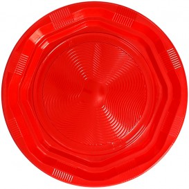 Plato Redondo Octogonal Plastico PS Rojo Ø17cm (425 Uds)