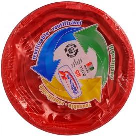 Plato Redondo Octogonal Plastico PS Rojo Ø17cm (25 Uds)