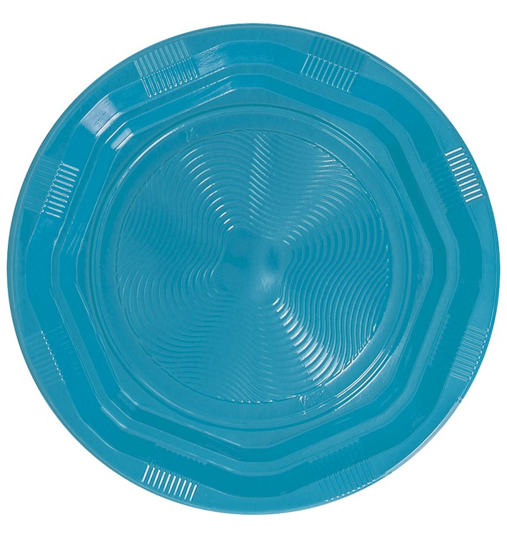 Plato Redondo Octogonal Plastico PS Azul Claro Ø170 mm (425 Uds)