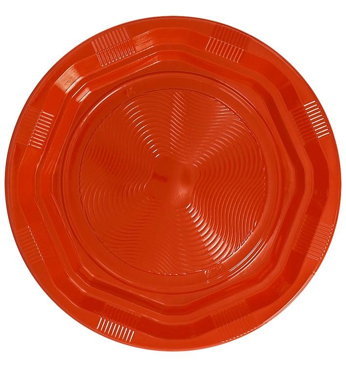 Plato Redondo Octogonal Plastico PS Naranja Ø170 mm (25 Uds)