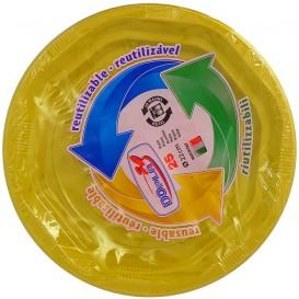 Plato Redondo Octogonal Plastico PS Amarillo Ø170 mm (25 Uds)