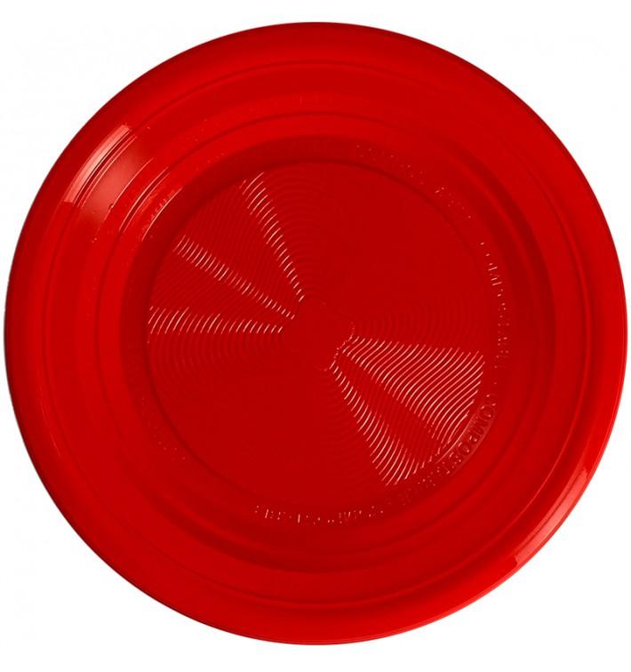 Plato Almidón de Maíz PLA Llano Rojo Ø170 mm (425 Uds)