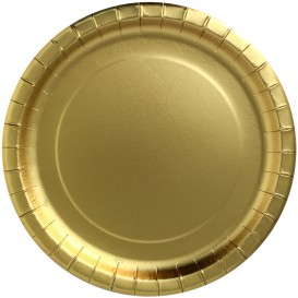 "Plato de Carton Redondo ""Party Shiny"" Oro Ø340mm (45 Uds)"