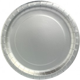 "Plato de Carton Redondo ""Party"" Plata Ø340mm (3 Uds)"