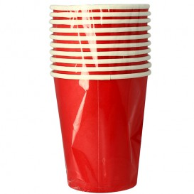 "Vaso Cartón 9 Oz/240ml Rojo ""Party"" (10 Uds)"