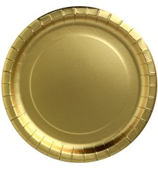 "Plato de Carton Redondo ""Party Shiny"" Oro Ø180mm (10 Uds)"