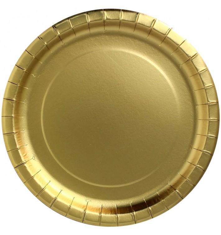 """Plato de Carton Redondo """"Party Shiny"""" Oro Ø180mm (300 Uds)"""