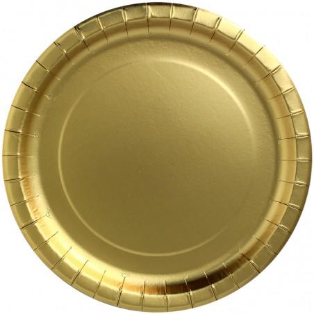 """Plato de Carton Redondo """"Party Shiny"""" Oro Ø230mm (300 Uds)"""