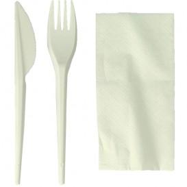 Set Cubiertos Tenedor, Cuchillo y Servilleta Almidón Maíz PLA (250 Uds)
