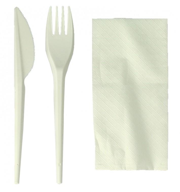 Set Cubiertos Tenedor, Cuchillo y Servilleta Almidón Maíz PLA (300 Uds)