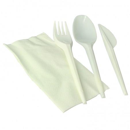 Set Cubiertos Tenedor, Cuchara, Cuchillo y Servilleta Almidón Maíz PLA (250 Uds)