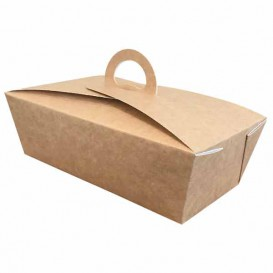 "Caja ""Doggy Bag"" Kraft con Asa 12x9x5cm 750ml (350 Uds)"