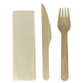 Set Cubiertos Madera Tenedor, Cuchillo y Cuchara (100 Uds)