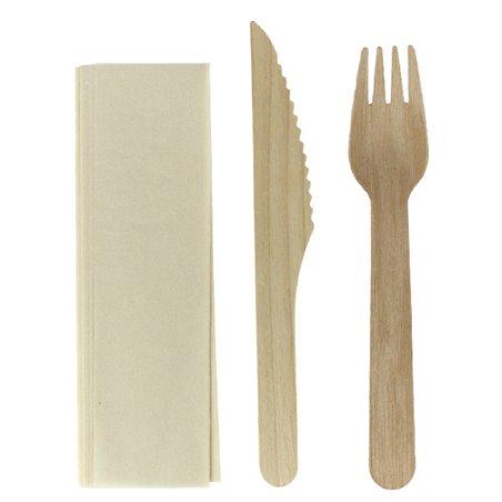 Set Cubiertos Madera Barnizado Tenedor, Cuchillo y Servilleta (25 Uds)
