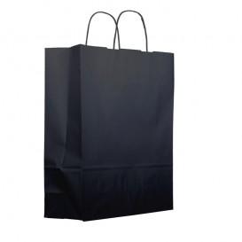 Bolsa Papel Kraft Negra con Asas 100g 25+11x31cm (200 Uds)