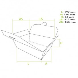 Caja Americana Grande Kraft 19,7x14x6,5cm (50 Uds)
