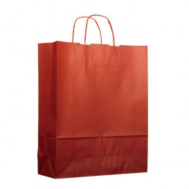 Bolsa Papel Kraft Rojo con Asas 100g 25+11x35cm (25 Uds)
