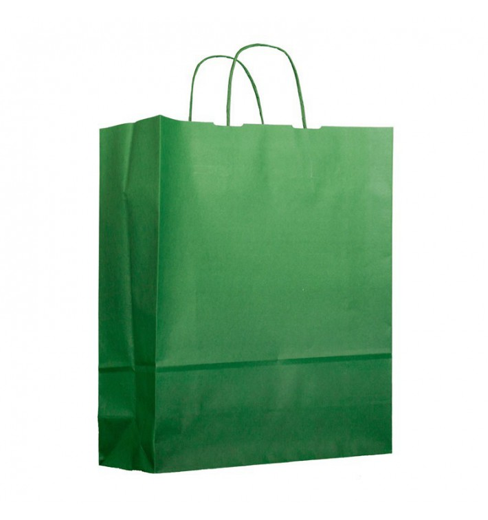 Bolsa Papel Verde con Asas 100g 25+11x31cm (25 Uds)