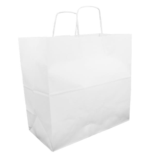 Bolsa Papel Kraft Blanca con Asas 100g 35+15x30cm (200 Uds)