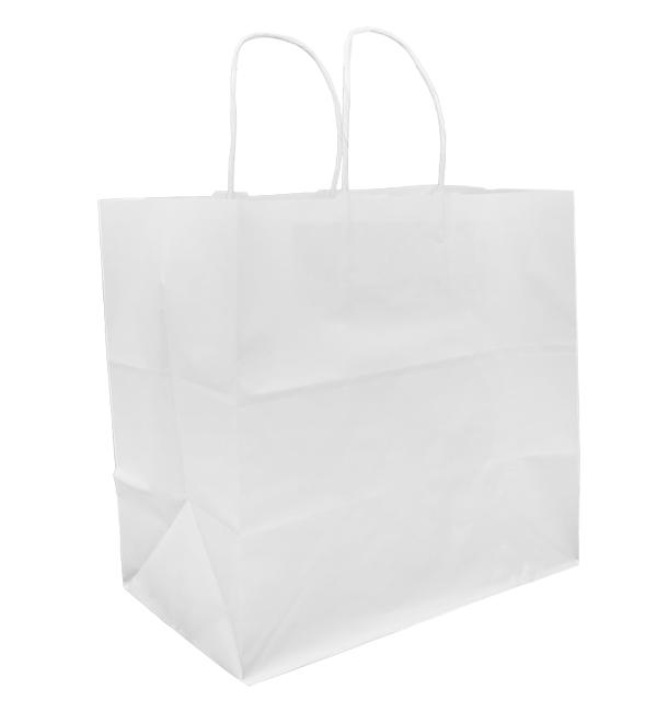Bolsa Papel Kraft Blanca con Asas 80g 30+18x29cm (200 Uds)