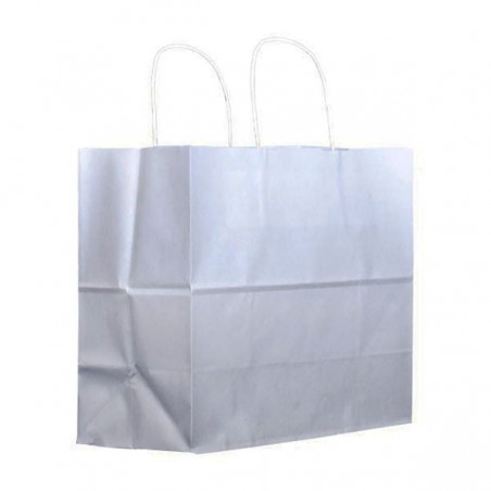 Bolsa Papel Kraft Blanca con Asas 100g 27+14x26cm (25 Uds)