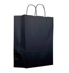 Bolsa Papel Kraft Negra con Asas 100g 22+9x23cm (25 Uds)