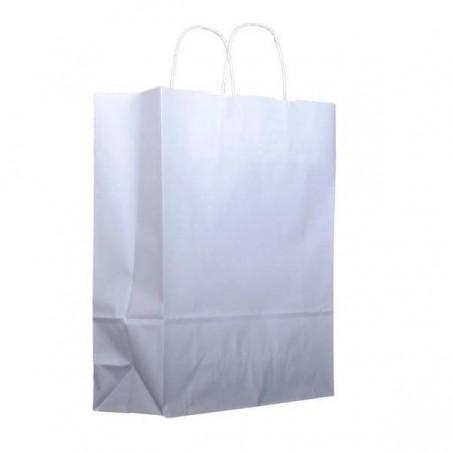 Bolsa Papel Kraft Blanca con Asas 100g 32+12x41 cm (25 Uds)