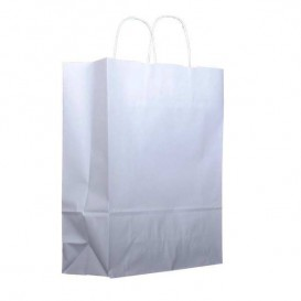 Bolsa Papel Kraft Blanca con Asas 100g 32+12x41 cm (200 Uds)
