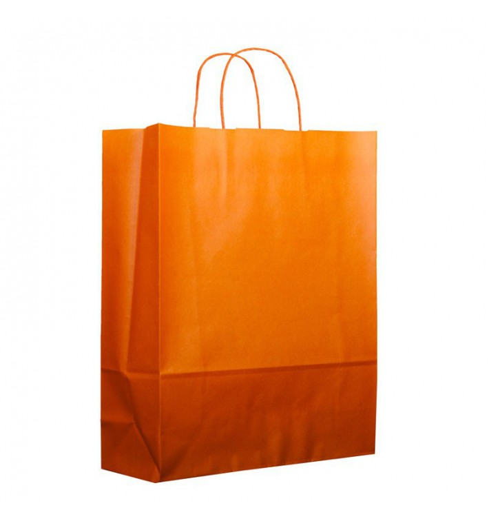 Bolsa Papel Naranja con Asas 100g 25+11x31cm (200 Uds)