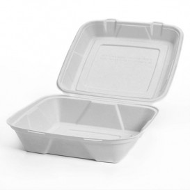 Envase MenuBox Caña Azúcar Blanco 24x23x7,7cm (50 Uds)
