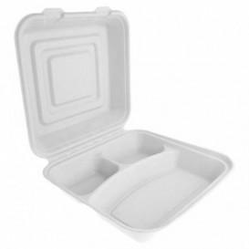 Envase MenuBox Caña Azúcar Blanco 3C 24x23x7,6cm (50 Uds)