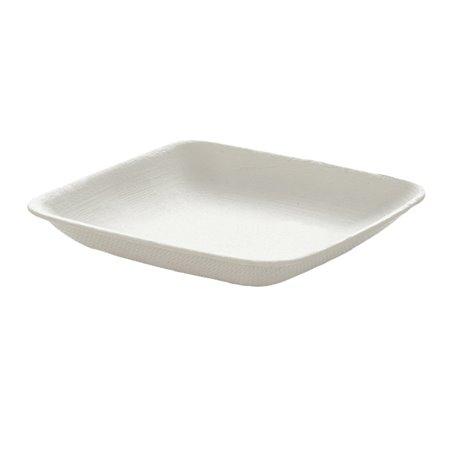Mini Plato Caña de Azúcar Cuadrado Blanco 6,5x6,5cm (600 Uds)