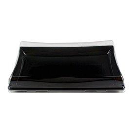 Bandeja Plastico Negra con Tapa PET 12x22cm (15 Uds)