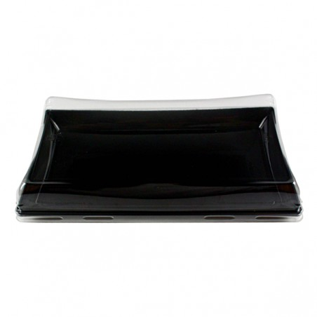 Bandeja Reutilizable PET Negra con Tapa 12x22cm (15 Uds)