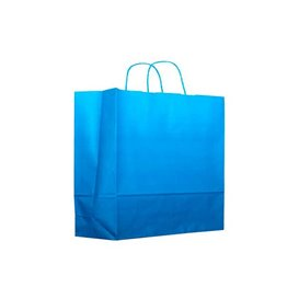 Bolsa Papel Turquesa con Asas 80g 20+10x29 cm (25 Uds)