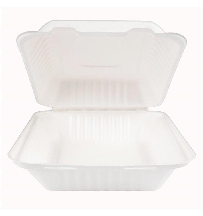 Envase Bisagra Caña de Azúcar + PLA Blanco 20x20x7,5cm (50 Uds)