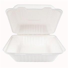 Envase Bisagra Caña de Azúcar + PLA Blanco 20x20x7,5cm (200 Uds)