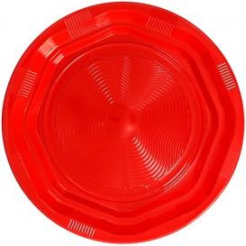 Plato Redondo Octogonal Plastico PS Rojo Ø22cm (275 Uds)