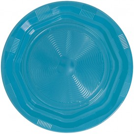 Plato Redondo Octogonal Plastico PS Azul Claro Ø220 mm (25 Uds)