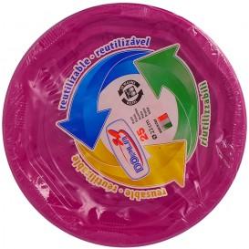 Plato Redondo Octogonal Plastico PS Fucsia Ø220 mm (275 Uds)