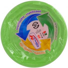 Plato Redondo Octogonal Plastico PS Verde Lima Ø220 mm (275 Uds)