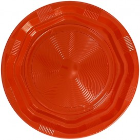 Plato Redondo Octogonal Plastico PS Naranja Ø220 mm (25 Uds)