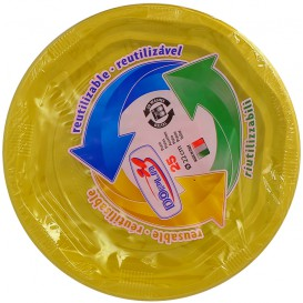Plato Redondo Octogonal Plastico PS Amarillo Ø220 mm (25 Uds)
