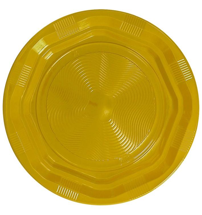 Plato Redondo Octogonal Plastico PS Amarillo Ø220 mm (275 Uds)